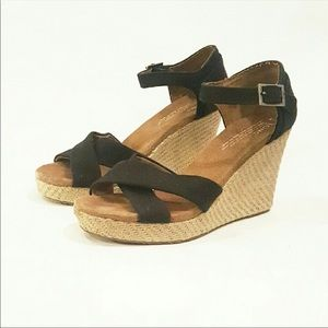 Toms ankle strap wedges